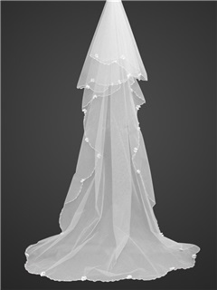 Beautiful Roman Style Cathedral Wedding Veils With Bead Edge