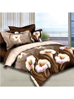 White Lily Printed 4 Piece 100 Cotton Bedding Sets