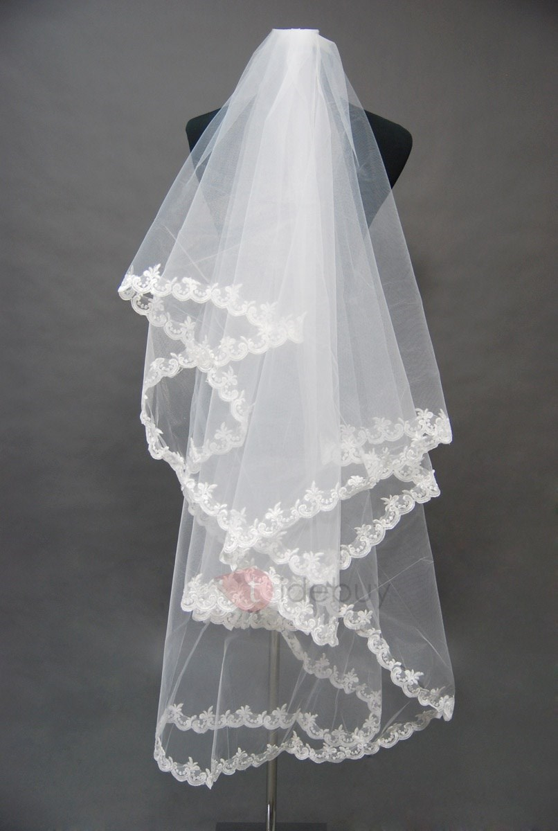 Attractive Tidebuy Elbow Style Wedding Bridal Veil with Lace Applique Edge