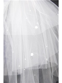 Blusher Wedding Bridal Veil with Cut Edge