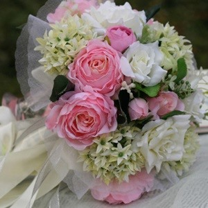 Glamorous Pink Silk Cloth Flower Wedding Bridal Bouquet with White Ribbon