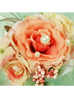 Enchanting Orange Round Silk Cloth Wedding Birdal Wrist Corsage