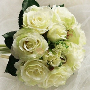 10 Pieces Green Silk Cloth Wedding Wrist Bouquet for Bride