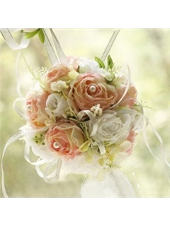 Beautiful Pink and White Silk Cloth Wedding Bridal Bouquet