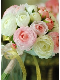 Delicate Pink and Green Silk Cloth Wedding Bouquet for Bride