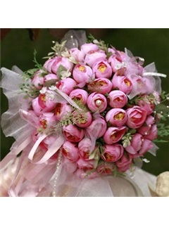Remarkable Rose Silk Cloth Bud Wedding Bridal Bouquet