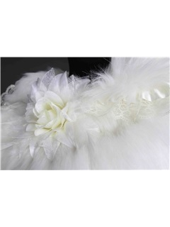 New Style Floral Edges Faux Fur Wedding Shawl
