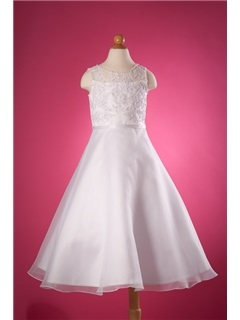 Elegant A-Line Ankle-Length Appliques Flower Girl Dress