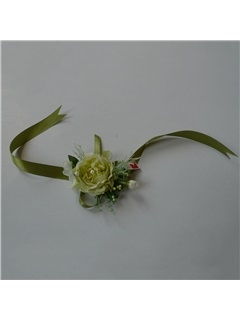 Green Rose Shaped Silk Cloth Wedding Wrist Corsage