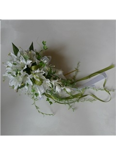 Fresh Waterfall Shaped White Silk Cloth Lily Wedding Bridal Bouquet with Green Ribbon