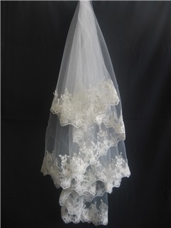 Elegant Fingertip Wedding Veil With Lace Applique Edge