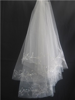 Spectacular Tidebuy Elbow Wedding Veils With Beading Edge