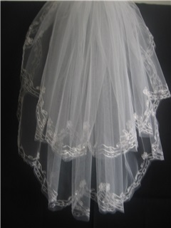 Sweet Tidebuy Blusher Wedding Bridal Veil with Lace Applique Edge