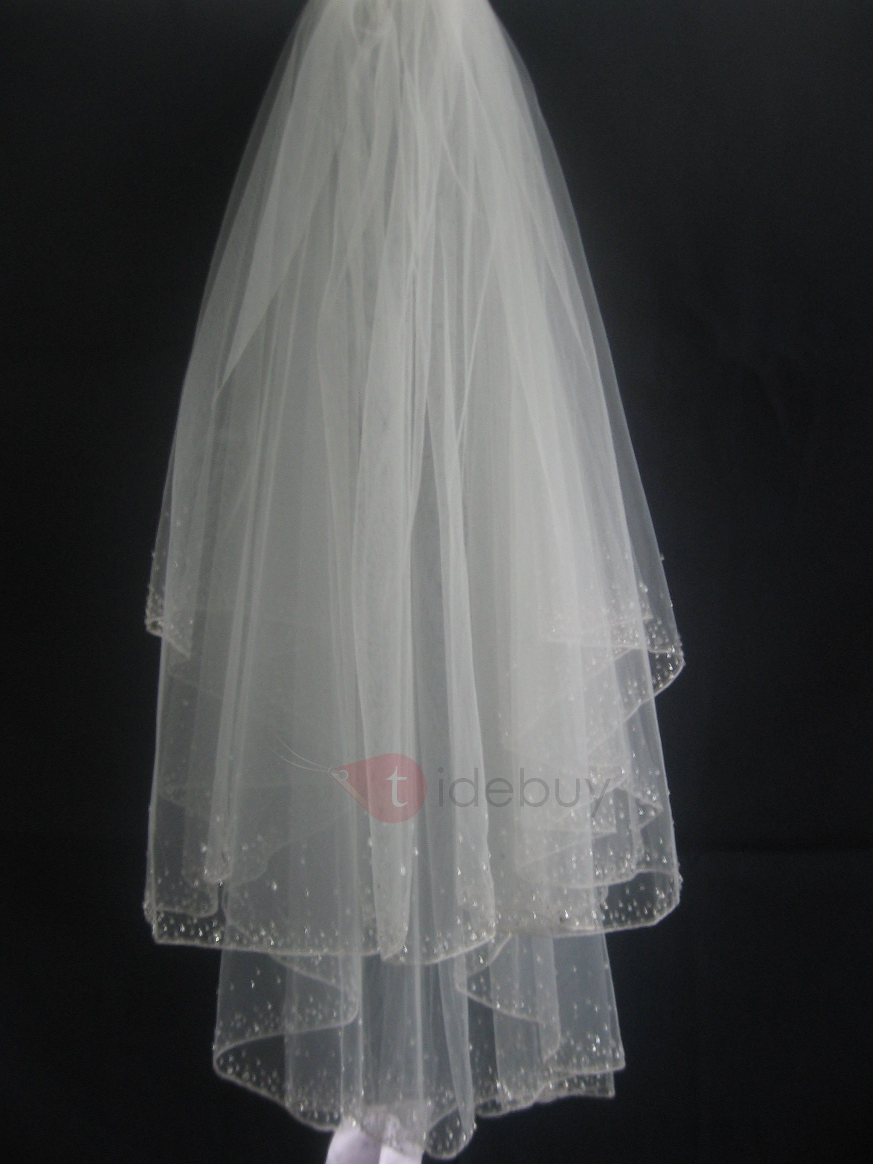 Lovely Tidebuy Elbow Style Wedding Bridal Veil with Beaded Edge