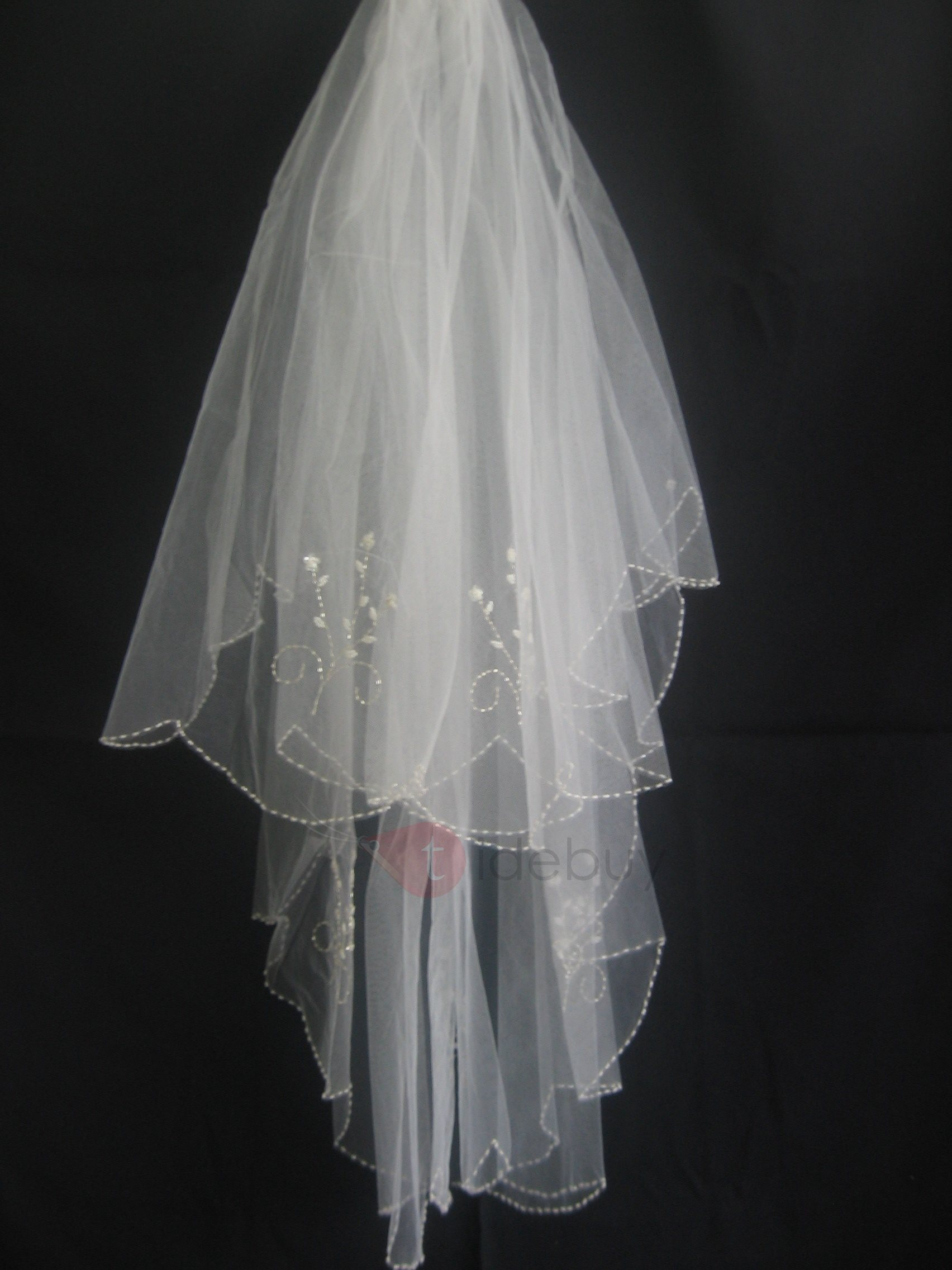Grand Tidebuy Elbow Wedding Bridal Veil with Beaded Floral Motif Edge