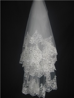 Faddish Elbow with Lace Flowery Edge Wedding Bridal Veils