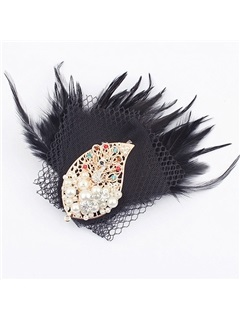 Leaf Shaped Alloy with Rhinestone&Pearls Black Feather Corsage/Hair-flower