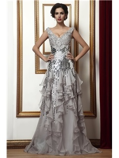 Attractive Beading/Sequins Tiered Sheath/Column V-Neck Floor-Length Taline's Evening/Mother of the Bride Dress