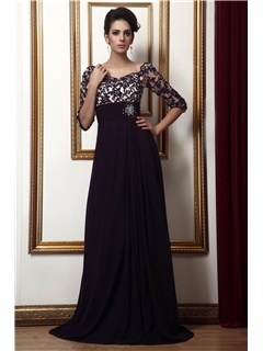 Amazing Appliques Empire Waist Off-the-Shoulder Beading Half Sleeves Long Taline's Mother of the Bride/Evening Dress