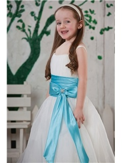 Attractive A-line Square Flower-length Bowknot & Sash Flower Girl Dress
