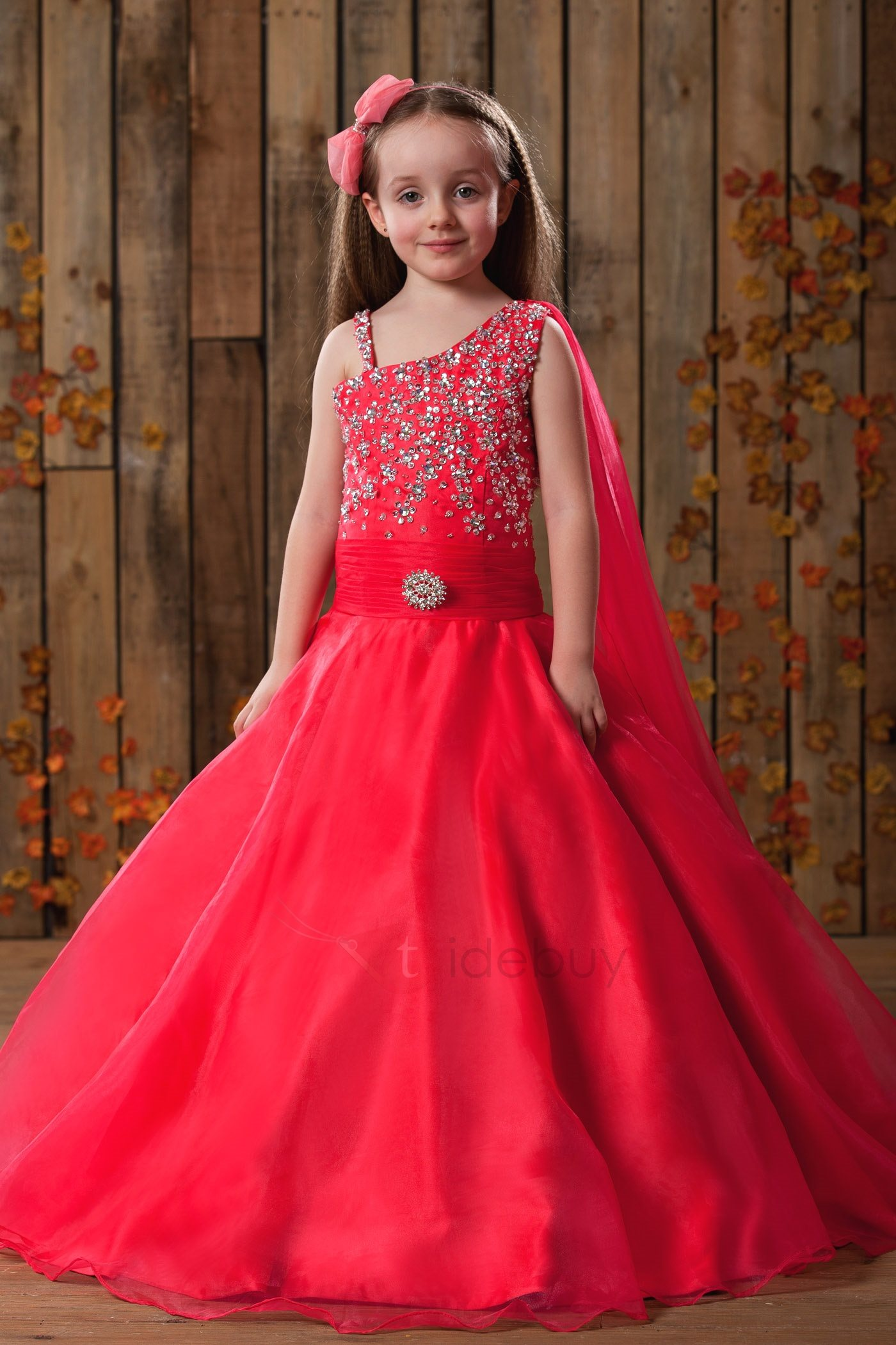 Elegant A-Line Floor-length Straps Beadings Flower Girl Dress