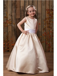 Amazing A-Line/Princess Floor length Satin Flower Girl Dress
