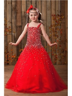 Elegant Ball Gown Square Neckline Floor Length Sequins Flower Girl Dress