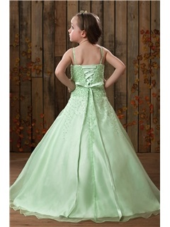 Beautiful A-line Spaghetti Straps Floor-Length Flower Girl Dress
