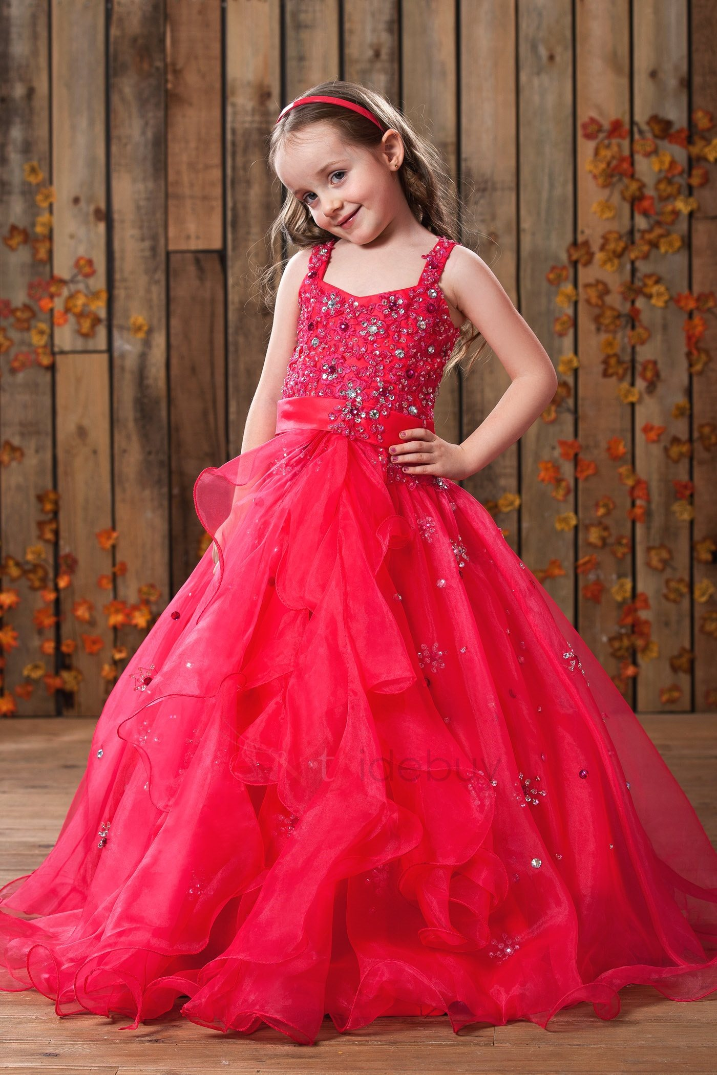 Elegant A-Line Straps Floor-length Sequins Flower Girl Dress