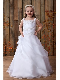 Square A Line Floor Length Beaded Pick Ups Flower Girl Dress