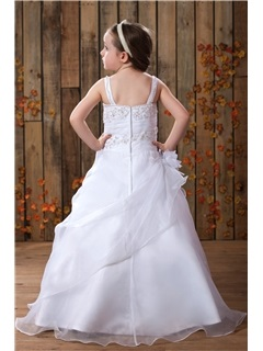Square A-line Floor-Length Beaded Pick-ups Flower Girl Dress