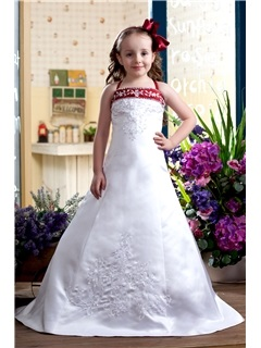A Line Spaghetti Sleeveless Flower Girl Dress