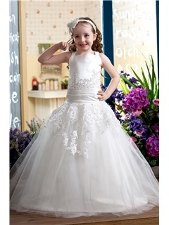 Elegant Ball Gown Straps Floor-length Flower Girl Dress & Flower Girl Dresses under 300