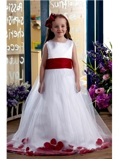 Elegant Ball Gown Ankle-length Bateau Appliques Flower Girl Dress & romantic Flower Girl Dresses