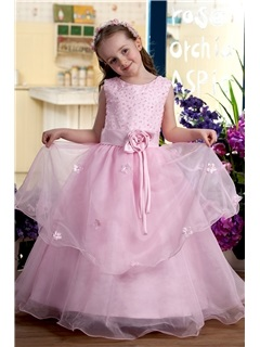 Attractive Scoop Tea Length A Line Sash Flower Girl Dress
