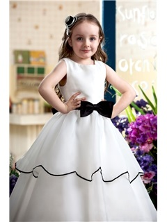 Elegant A-Line Sash and Bow Floor Length Flower Girl Dress With Jacket/Shawl
