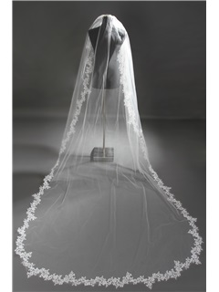 New Charming Cathedral Length Ivory Lace Wedding Veil