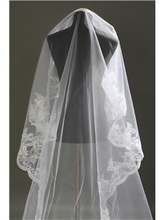 Stylish Royal Length White Lace Wedding Veil