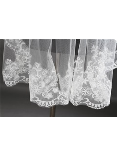 Fingertip White Lace Wedding Bridal Veil