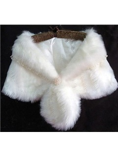 Brilliant Plush Lace Collar Lady's Faux Fur Wedding/Evening Shawl with Pearl Ball