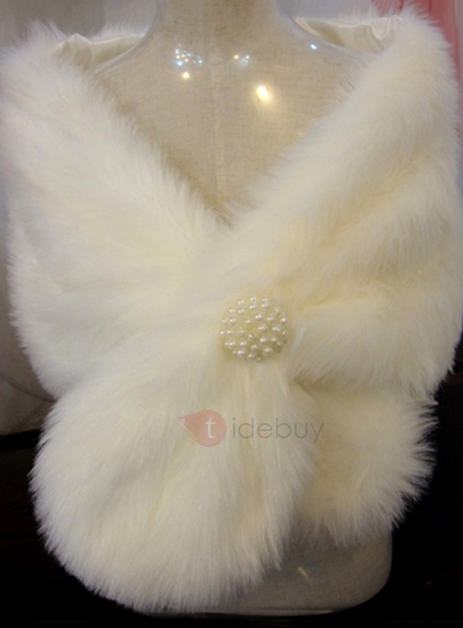 Attractive Plush Pearls Ball Ear Style Lady's Faux Fur Wedding/Evening Shawl