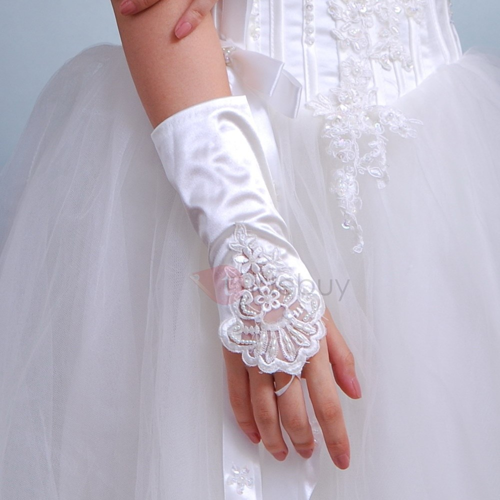 Beautiful Beading Appliques Ivory Wedding Gloves