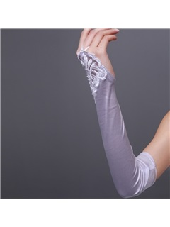Long Finger-less Wedding Gloves with Beading Appliques