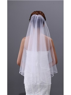 Fancy Elbow Wedding Veil with Beadings