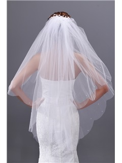 Simple 2-layer Elbow Wedding Veil with Beadings