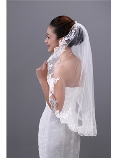 Pretty Tidebuy Elbow Wedding Veil with Lace Edge