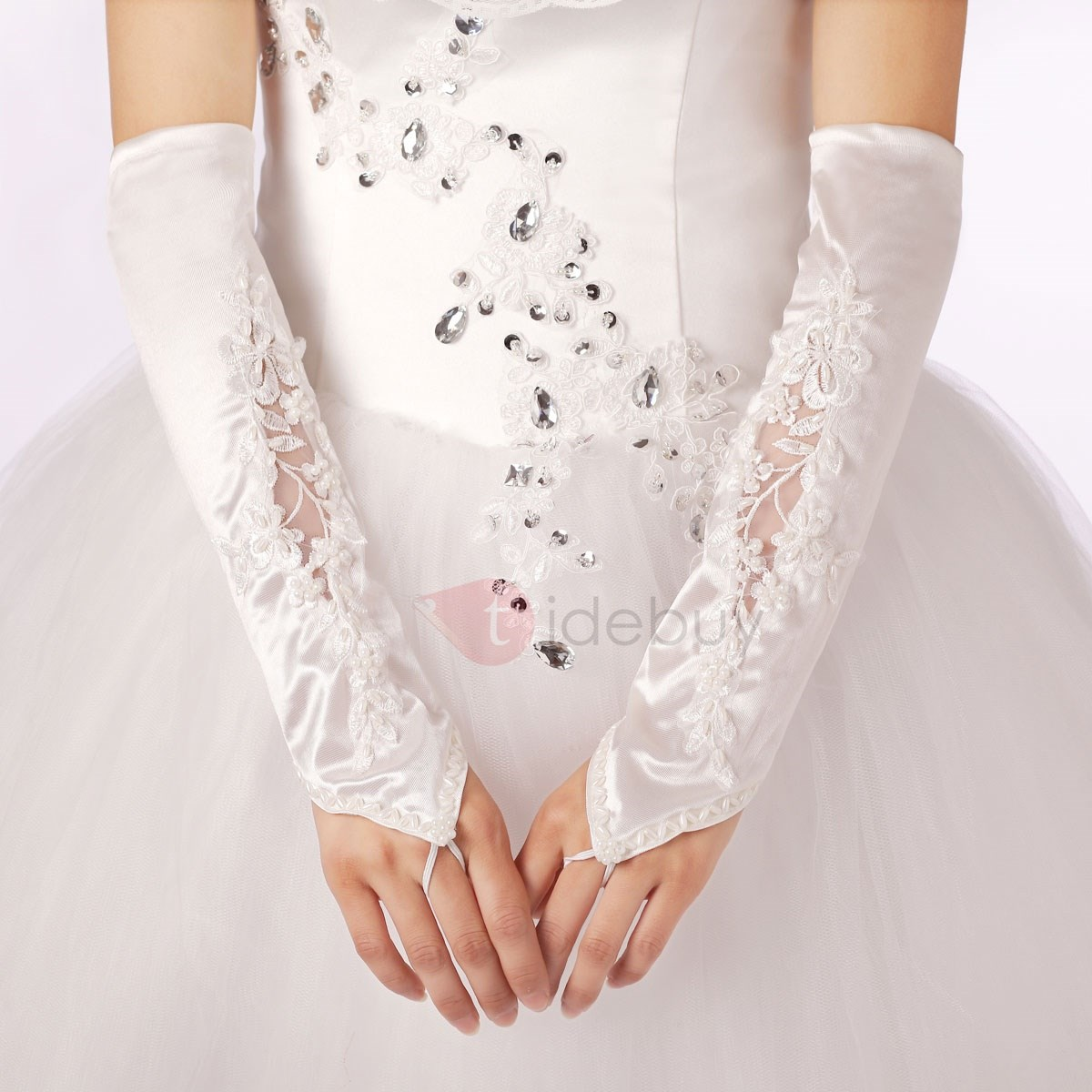 Long Fingerless Lace Applique Wedding Gloves