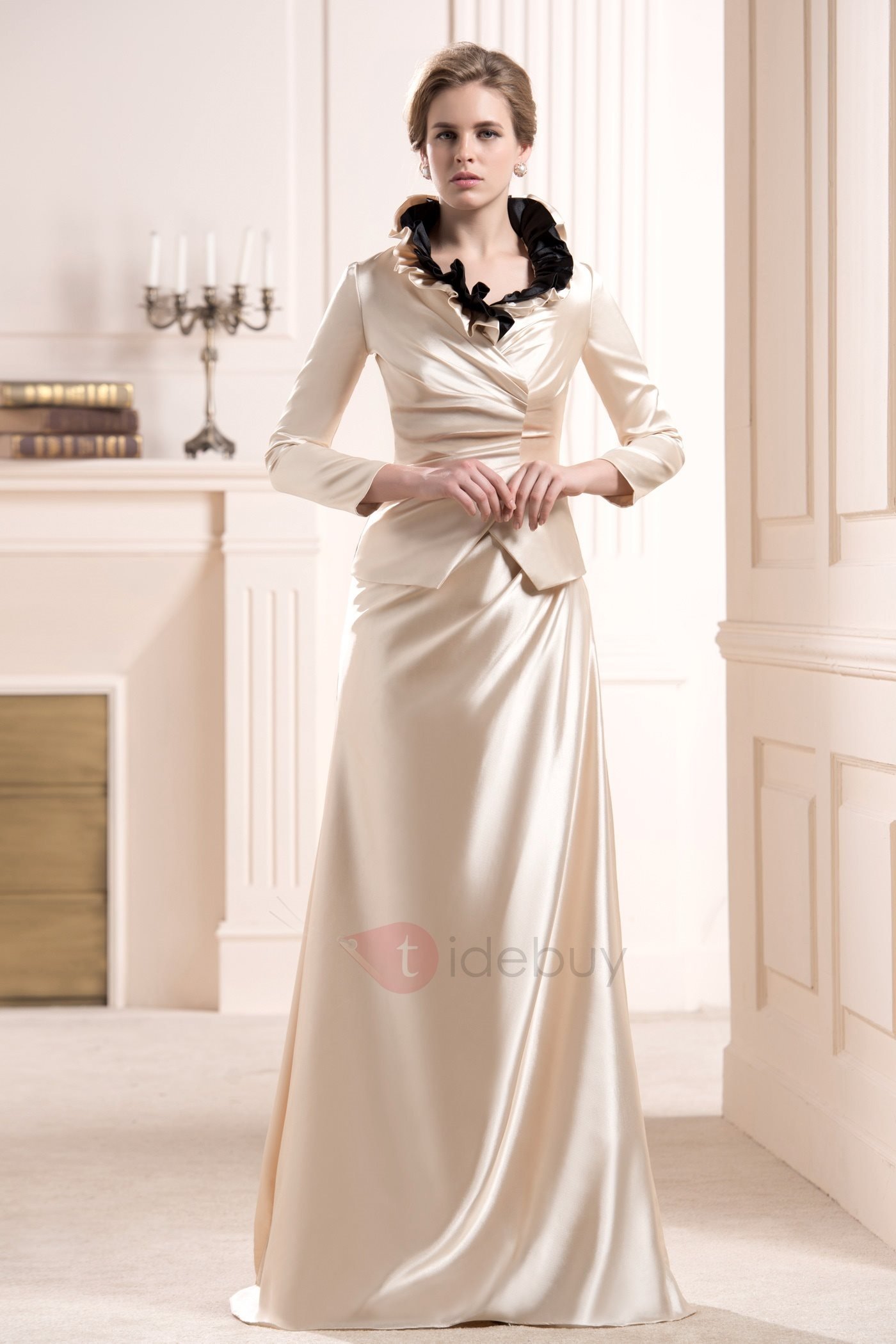 Ruffles Sheath Sleeveless Floor-Length Mother of the Bride Dress