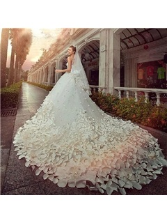 Gorgeous A-line Floor-Length Patterned Flower Beading Cathedral Wedding Dress