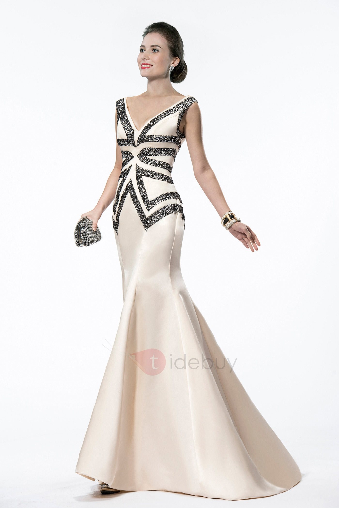 Elegant Mermaid V-Neck Sequins Beading Sweep Train Long Evening Dress